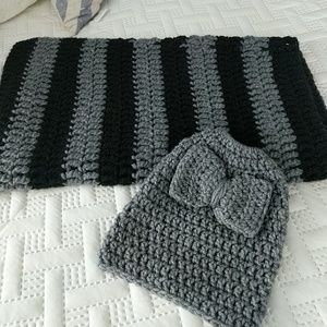 Homemade infinity scarf in ponytail hat